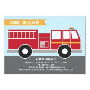 Fire Truck Birthday Party Invitation
