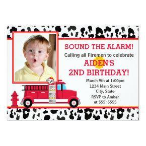 Fire Truck Birthday Party Invitation Photo