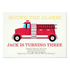 Fire Truck Boys Birthday Invitations