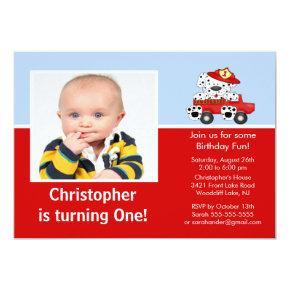 Fire truck Dalmatian Photo Birthday Invitation