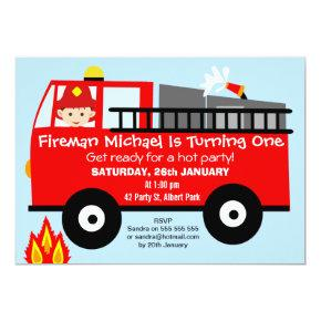 Fire Truck Engine Birthday Party Invitations