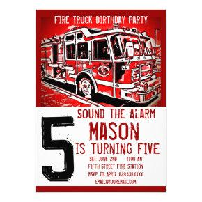 Fire Truck Engine Firefighter Birthday