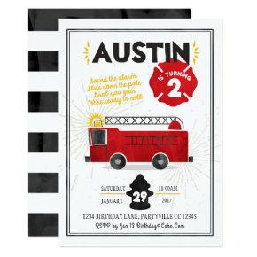Fire Truck Fire Engine Birthday Invitations
