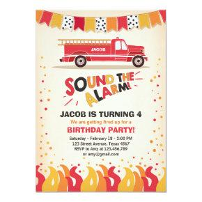 Fire Truck Firefighter Birthday Invitations Boy