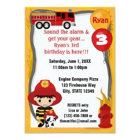 Fire Truck Firefighter Dalmatian Birthday FF01B Invitations