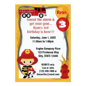 Fire Truck Firefighter Dalmatian Birthday FF01C Invitations