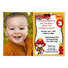 Fire Truck Firefighter Dalmatian Birthday FFP01B Invitation