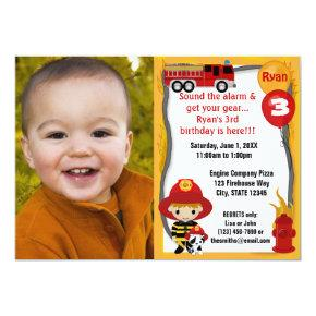 Fire Truck Firefighter Dalmatian Birthday FFP01D Invitations