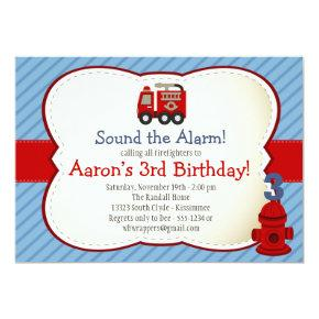 FIRE TRUCK Invitation - Kids Birthday