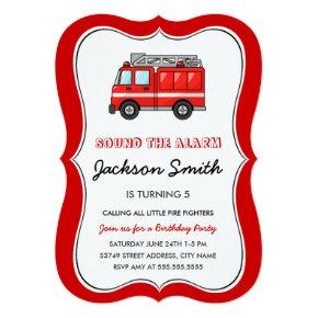 Fire Truck Kids Birthday Invite