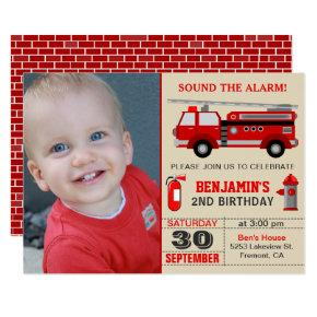 Fire Truck Kids Photo Birthday Party Invitations