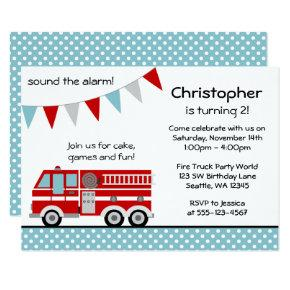 Fire Truck Polka Dot Banner Boy Birthday Party Invitation