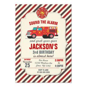 Firefighter Birthday Invitation for Kids