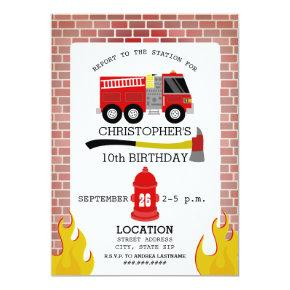 Firefighter Birthday Party Invitations