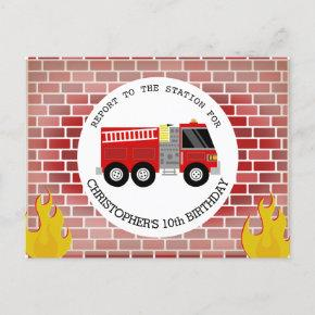 Firefighter Bricks Firetruck Flames Birthday Invitation Post