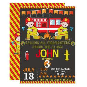 Firefighter Fire Truck chalkboard Birthday Party Invitations