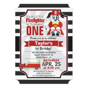 Firefighter; Firetruck Birthday Party Invitations
