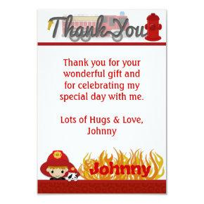 "FIREFIGHTER Thank You 3.5""x5"" (FLAT style) FF01D Invitation"