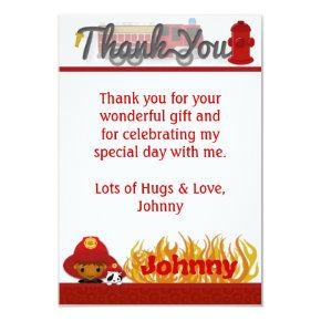 "FIREFIGHTER Thank You 3.5""x5"" (FLAT style) FF03A Card"