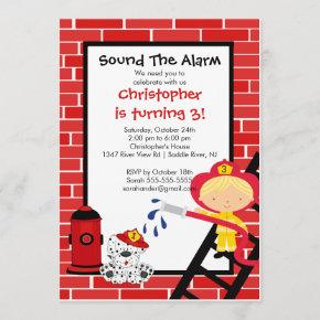 Fireman Boy Firetruck Birthday Party Invitation