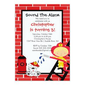 Fireman Boy Firetruck Birthday Party Invitation