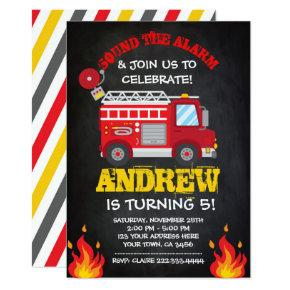 Firetruck Birthday Invitation, Firefighter Invites