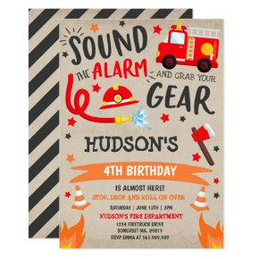Firetruck Birthday Invitation Fireman Party