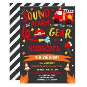 Firetruck Birthday Invitation Fireman Party