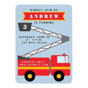 Firetruck Boy's Birthday Invitation