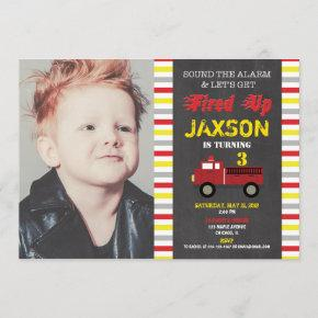 Firetruck fire engine birthday party boy photo invitation
