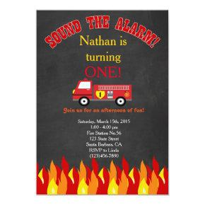 Firetruck Fire Engine First Birthday Party Invite