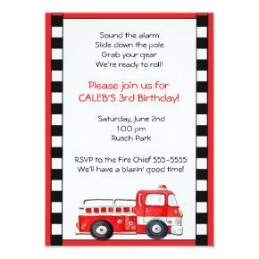 Firetruck Fire Truck Man Birthday Party Invitation