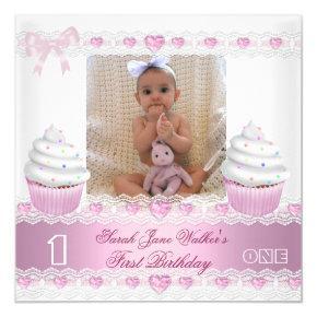 First Birthday 1st Girl White Pink Cupcake Baby 3 Card