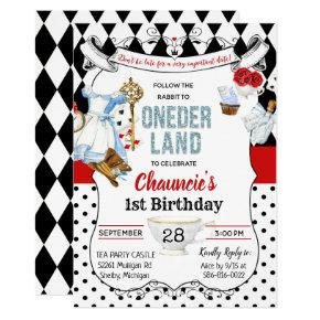 First Birthday Alice in Wonderland Invitations