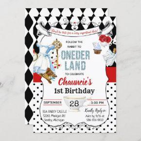 First Birthday Alice in Wonderland Invitation