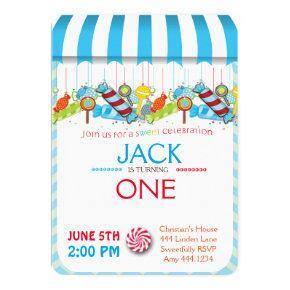 First Birthday Candyland Boy Invitations