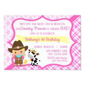 First Birthday Country Princess Invitation