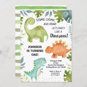 First birthday Dinosaur Birthday Invitation