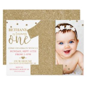 First Birthday Faux Gold Glitter & Pink Invitations