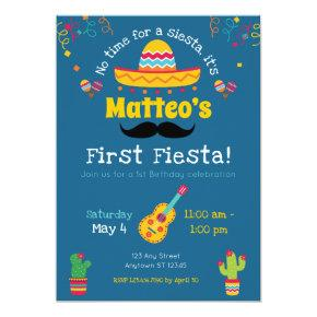 First Birthday Fiesta Mexican Birthday Invitations