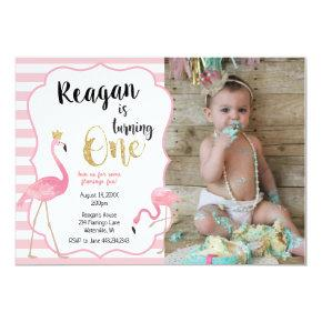 First Birthday Flamingo Photo Invitation