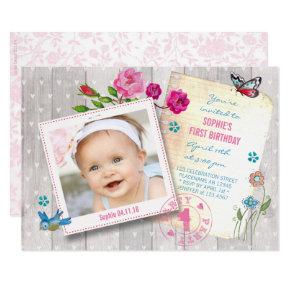 First Birthday Girl Wood | Photo Party Invitations