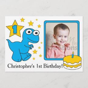First Birthday Invitaions - Dinosaurs Invitation