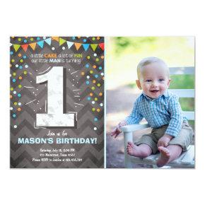 First Birthday Invitations boy One Chalk Green blue