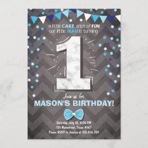 First Birthday Invitation boy One Navy Blue Bowtie
