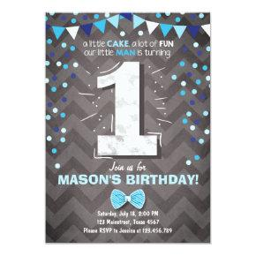First Birthday Invitations boy One Navy Blue Bowtie