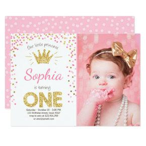 First birthday Invitations Princess Gold Pink