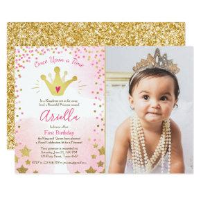 First birthday Invitations Princess Gold Pink Crown