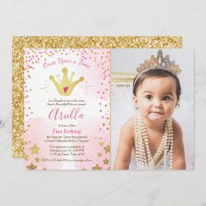 First birthday invitation Princess Gold Pink Crown