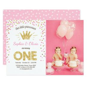 First birthday Invitations Princess Gold Pink Twins